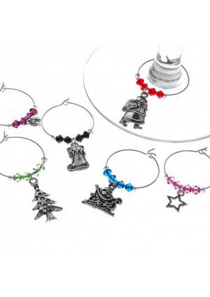 christmas sparkles wine charms set 6 red herring games - Christmas Wine Charms