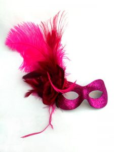 Pink feather mask